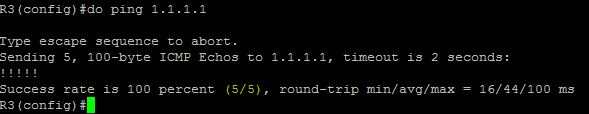 ping ke 1.1.1.1 succes